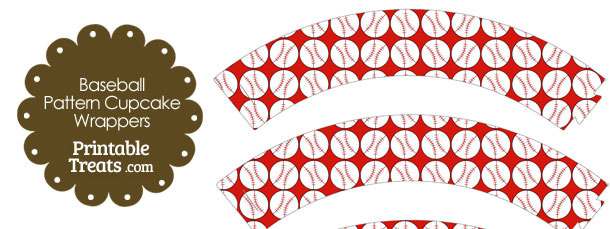Red Baseball Pattern Cupcake Wrappers