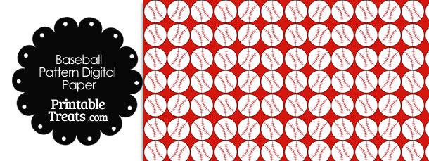 Red Baseball Pattern Digital Scrapbook Paper