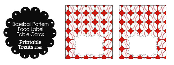 Red Baseball Pattern Food Labels