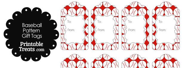 Red Baseball Pattern Gift Tags