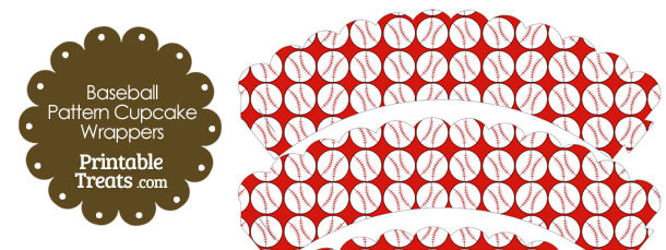 Red Baseball Pattern Scalloped Cupcake Wrappers
