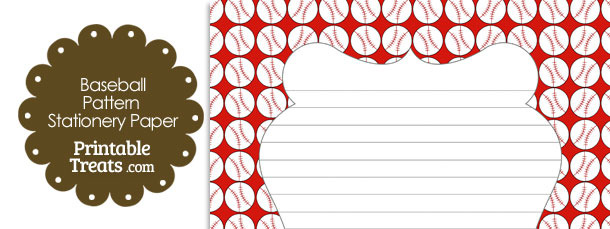Red Baseball Pattern Stationery Paper