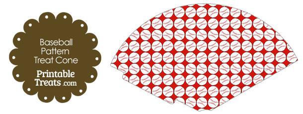 Red Baseball Pattern Treat Cone