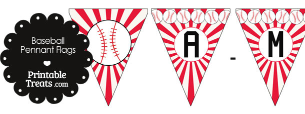 Red Baseball Pennant Banner Flag Letters A-M