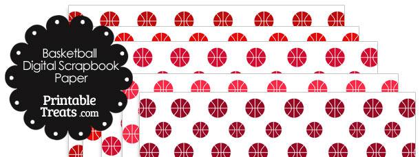 Red Basketball Digital Scrapbook Paper