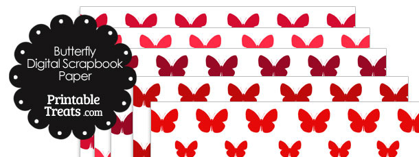 Red Butterfly Digital Scrapbook Paper