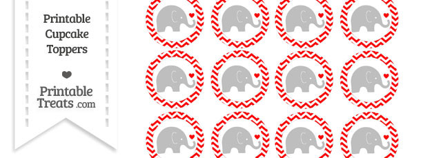 Red Chevron Baby Elephant Cupcake Toppers