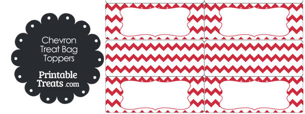 Red Chevron Treat Bag Toppers