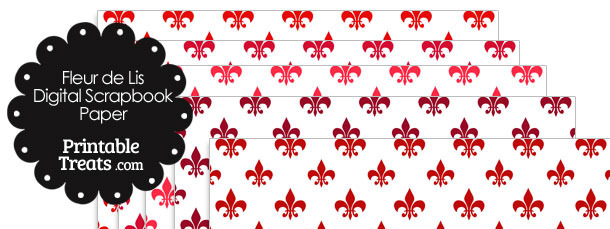 Red Fleur de Lis Digital Scrapbook Paper