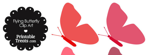 Red Flying Butterfly Clipart