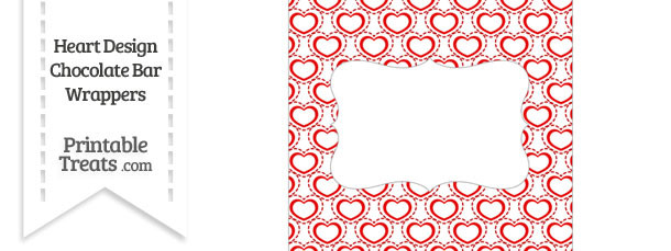 Red Heart Design Chocolate Bar Wrappers
