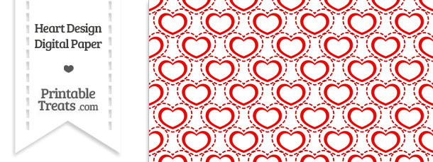 Red Heart Design Digital Scrapbook Paper