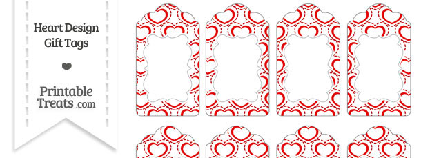 Red Heart Design Gift Tags