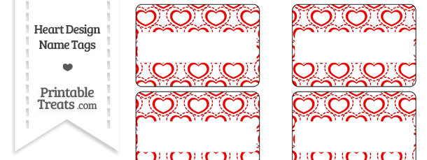 Red Heart Design Name Tags