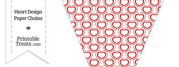 Red Heart Design Pennant Banner Flag