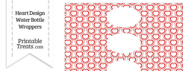 Red Heart Design Water Bottle Wrappers