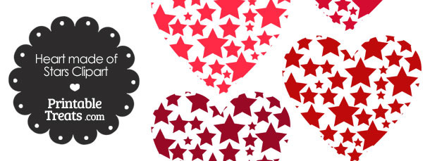 Red Heart Made of Stars Clipart