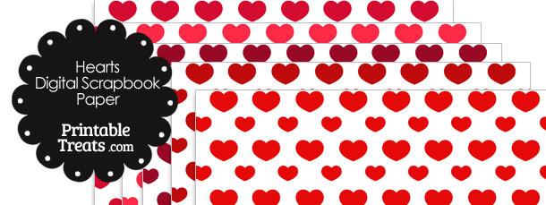 Red Hearts Digital Scrapbook Paper