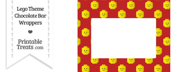 Red Lego Theme Chocolate Bar Wrappers
