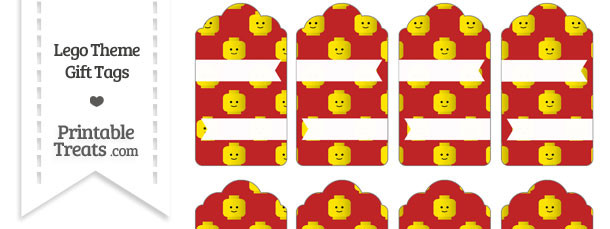 Red Lego Theme Gift Tags