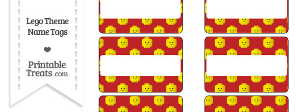Red Lego Theme Name Tags