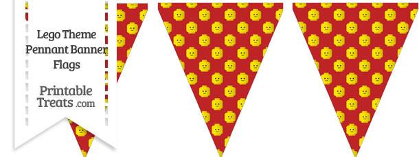 Red Lego Theme Pennant Banner Flag