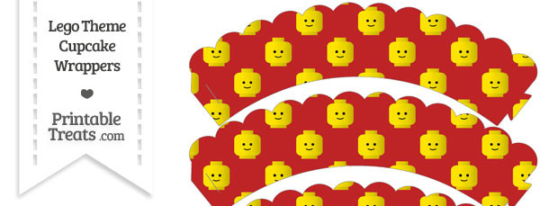 Red Lego Theme Scalloped Cupcake Wrappers