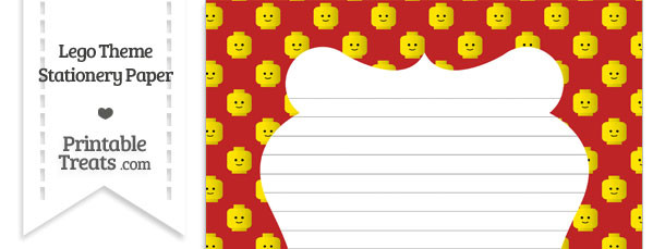 Red Lego Theme Stationery Paper