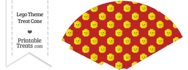 Red Lego Theme Treat Cone
