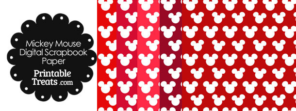 Red Mickey Mouse Head Digital Paper