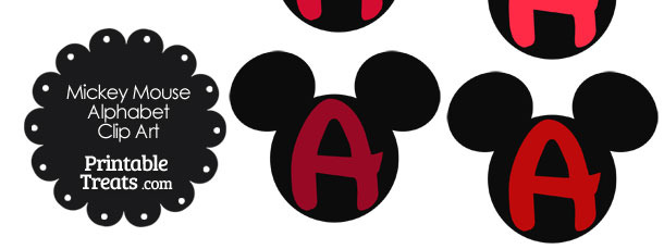 Red Mickey Mouse Head Letter A Clipart