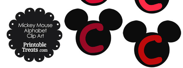 Red Mickey Mouse Head Letter C Clipart