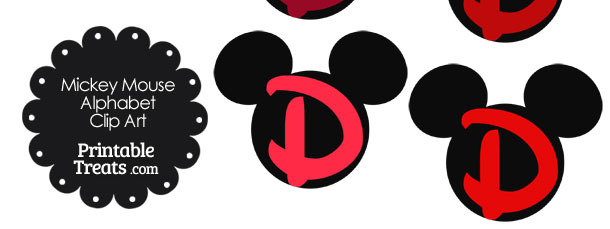 Red Mickey Mouse Head Letter D Clipart