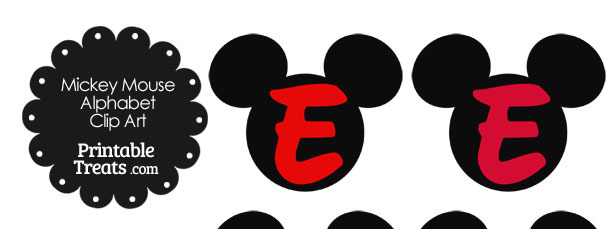 Red Mickey Mouse Head Letter E Clipart