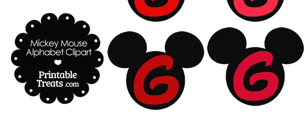 Red Mickey Mouse Head Letter G Clipart