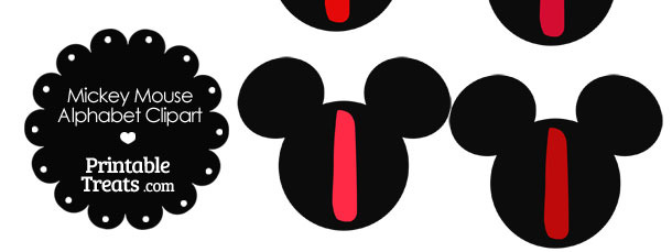 Red Mickey Mouse Head Letter I Clipart