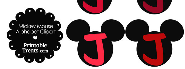 Red Mickey Mouse Head Letter J Clipart