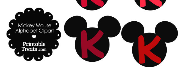 Red Mickey Mouse Head Letter K Clipart