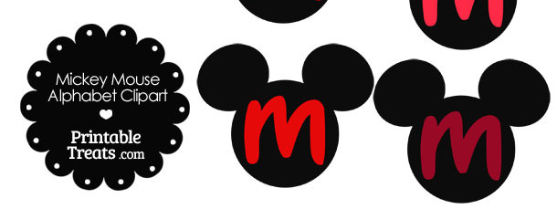 Red Mickey Mouse Head Letter M Clipart