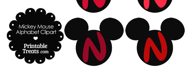 Red Mickey Mouse Head Letter N Clipart
