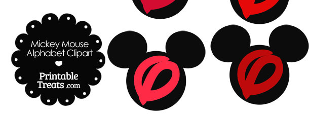 Red Mickey Mouse Head Letter O Clipart