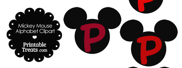 Red Mickey Mouse Head Letter P Clipart