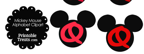 Red Mickey Mouse Head Letter Q Clipart