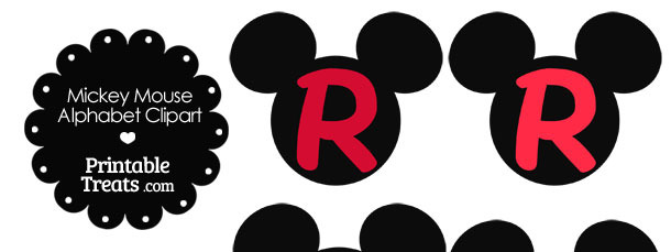 Red Mickey Mouse Head Letter R Clipart