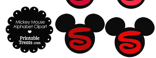 Red Mickey Mouse Head Letter S Clipart