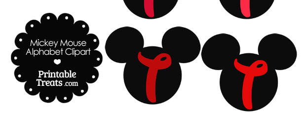 Red Mickey Mouse Head Letter T Clipart