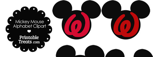 Red Mickey Mouse Head Letter W Clipart