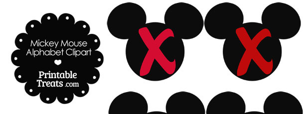 Red Mickey Mouse Head Letter X Clipart