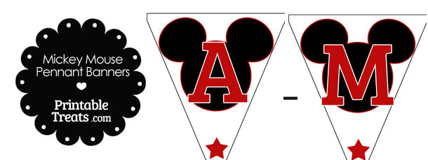 Red Mickey Mouse Pennant Banner Letters A-M