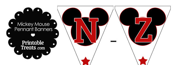 Red Mickey Mouse Pennant Banner Letters N-Z